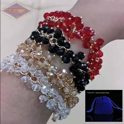 Woman-wearing-on-wrist-multi-colour-Crystal-Cluster-Adjustable-Bracelets-Mayfairtrends