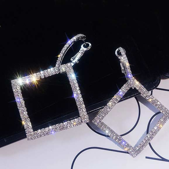 black-background-Art-Deco-Zeus-Square-Crystal-Earrings-color-silver