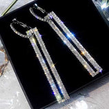 black-background-Art Deco Rectangle Drop Crystal Earrings-color-silver