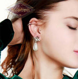 side-view-woman-Dangle-Drop-Pearl-Crystal-Earrings