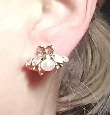 side-view-woman-wearing-Bee-Stud-Crystal-Earrings