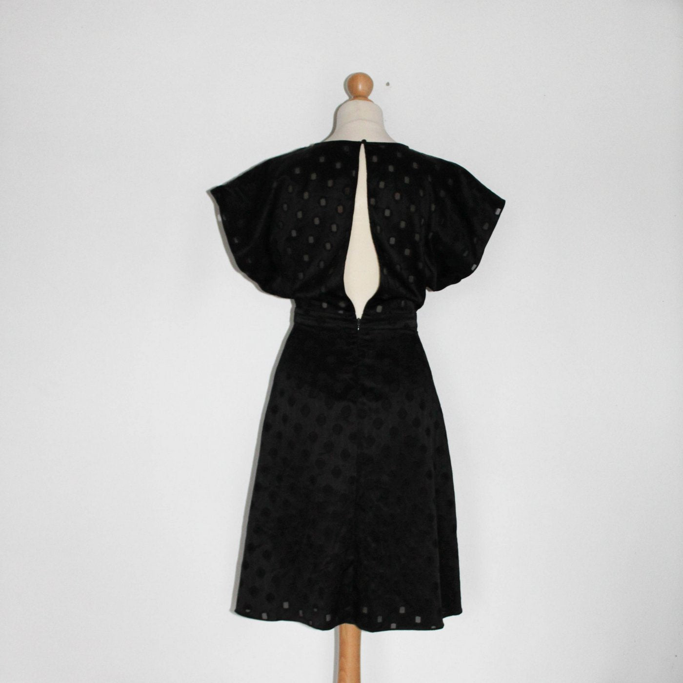 Black Satin Polka Dot Dress