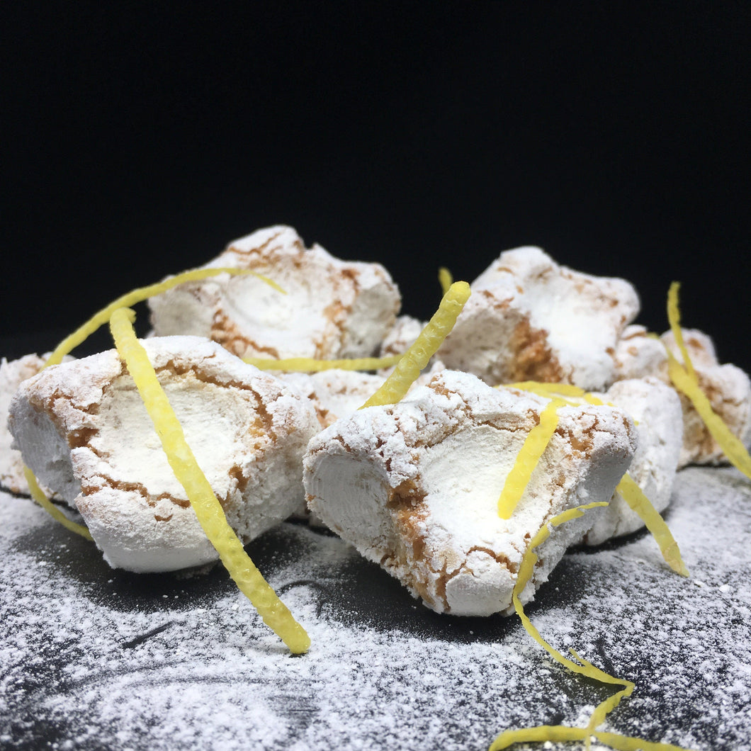 Italian Lemon Almond Cookies with lemon peel and icing sugar