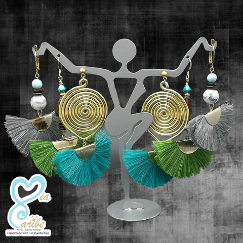 Gorgeous Howlite & Larimar Grey Fan Tassels Earrings
