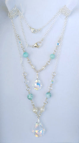 Mother & Daughter Swarovski Baroque and Larimar Necklaces set
