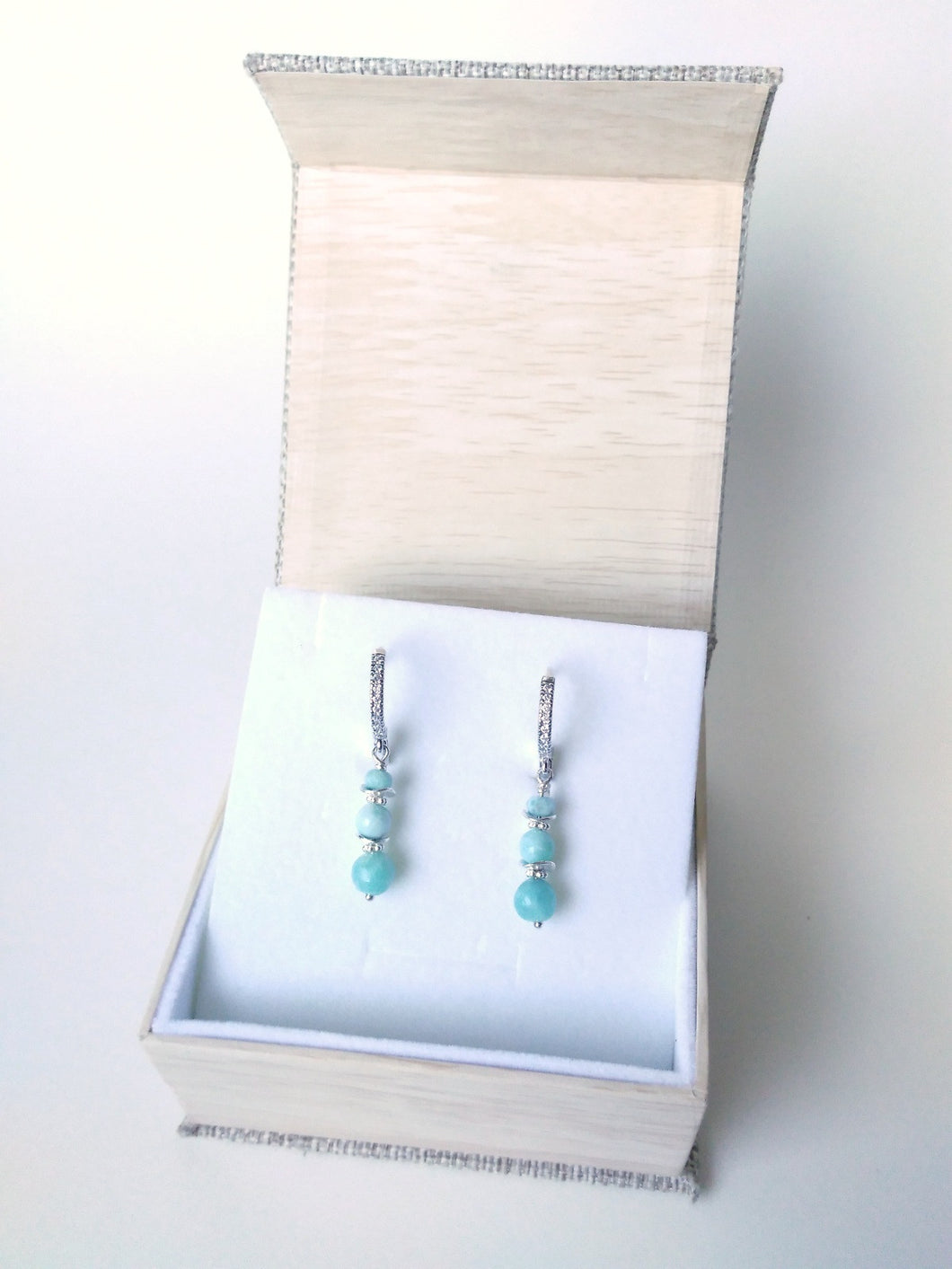 AAA Larimar Trio Cz's Earrings