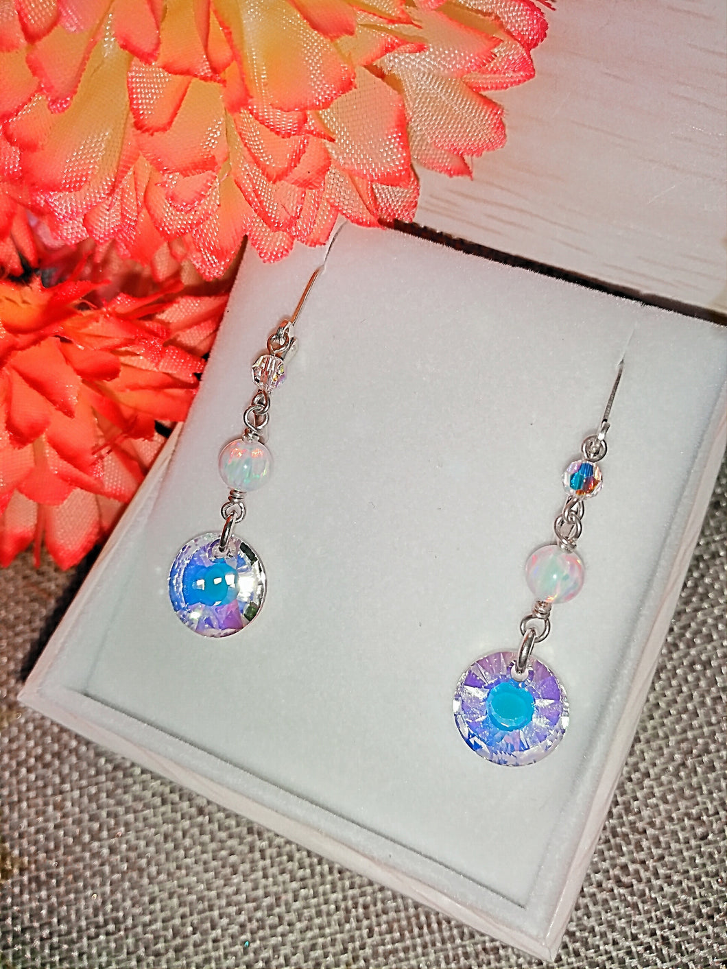 Sun and White Opal Sterling Silver Earrings