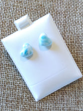 Heart Shaped Larimar Stud Earrings