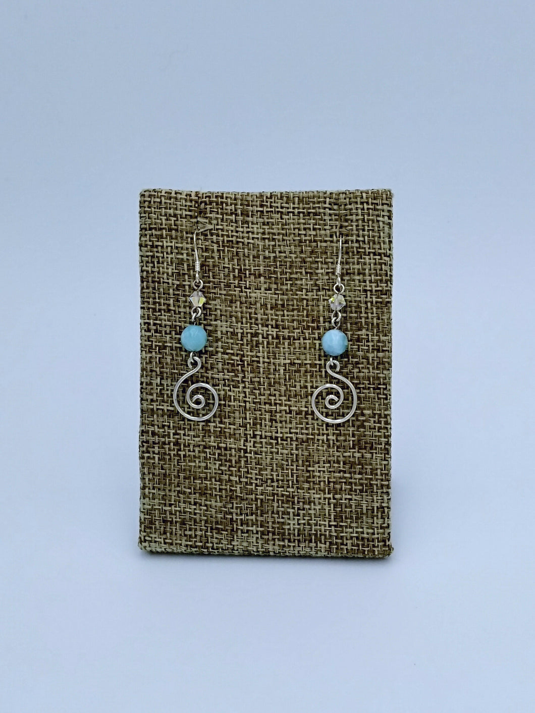 Spiral and Larimar Dangle Earrings