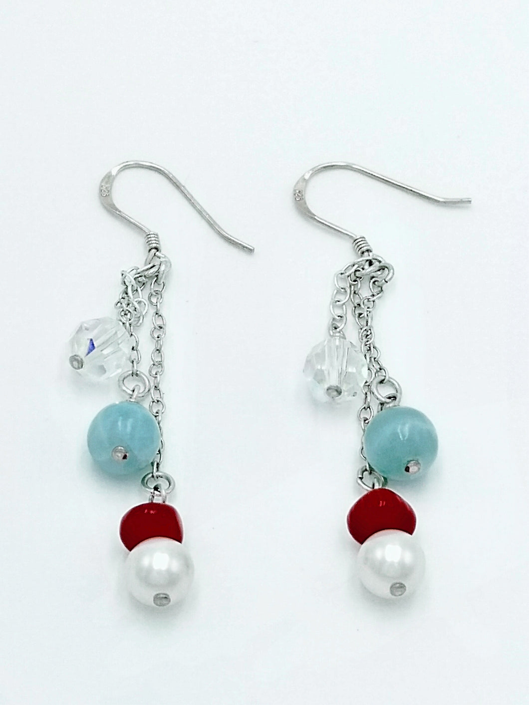 Playful Larimar, Pearls and Coral Earrings