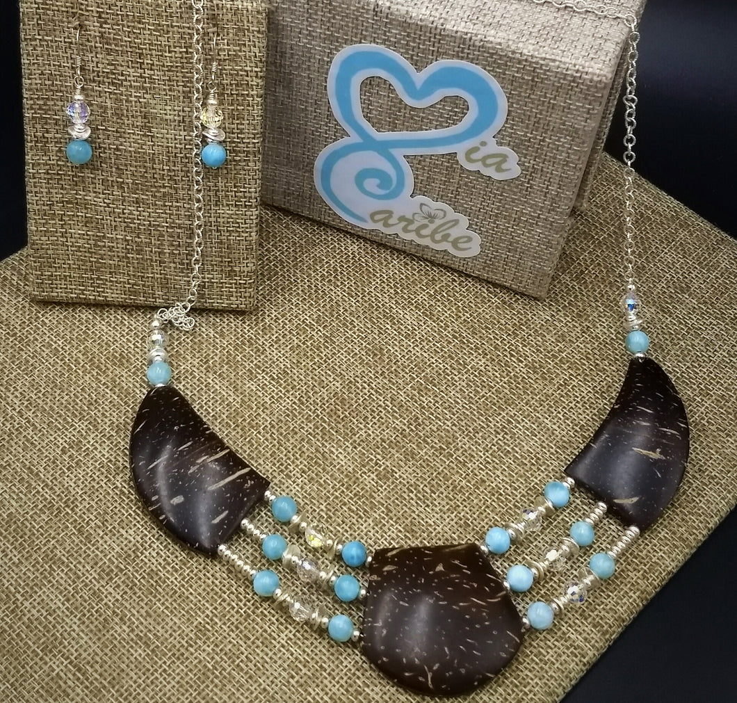 Coconut Shell and Larimar with Swarovski crystals Argentium silver Jewelry Set