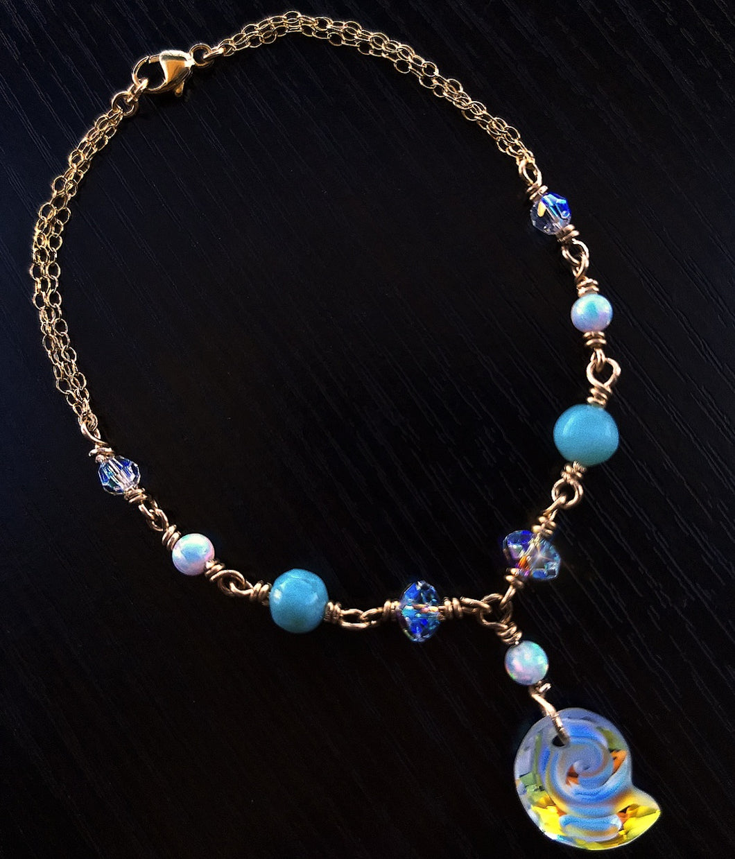 Swarovski shell Lab Opals and Larimar Gold-filled bracelet