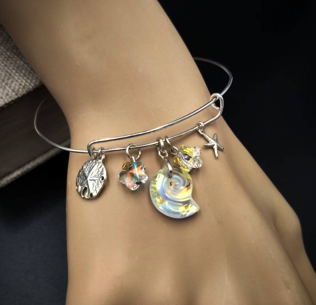 Spiral Shell on the Beach Charm Bracelet