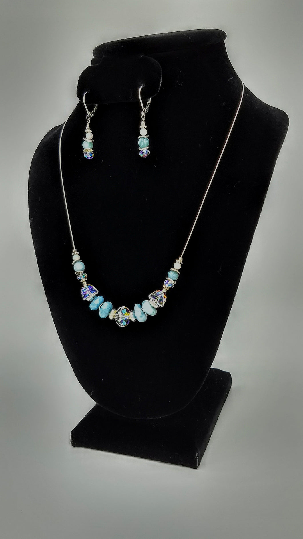 Larimar and Swarovski Rondelle Long Necklace and Earrings set