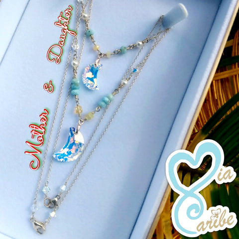 Mother Daughter, Swarovski, Moon set with Larimar.
