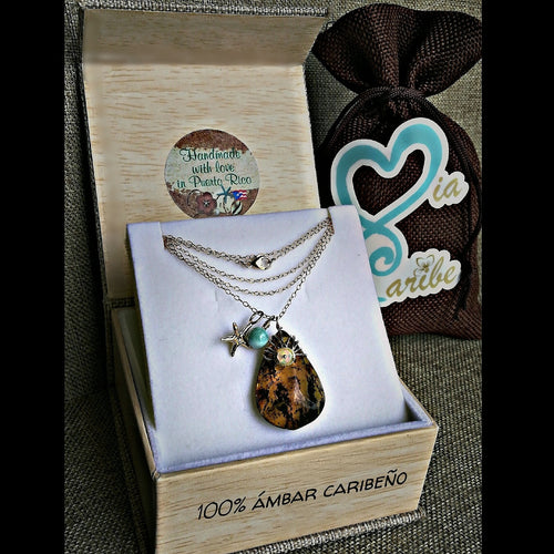 Amber & Larimar Wire wrapped Gold-filled necklace
