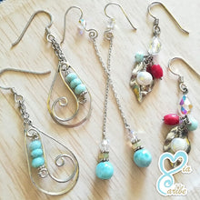 Twisted Spiral Argentium Silver & Larimar Earrings