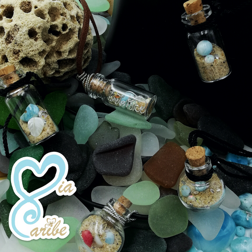 Caribbean Artifacts in a Bottle Necklace