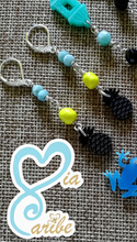 Tropical Black Pineapple & Larimar Earrings