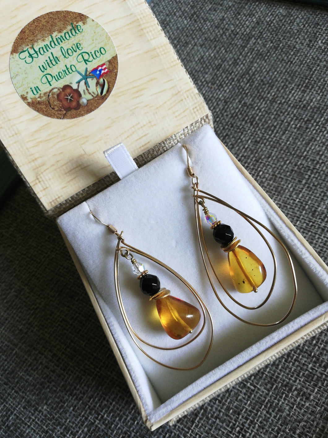 Honey Amber & Black Onyx Gold-filled Dangly Earrings