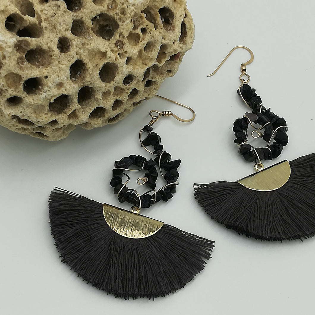 Blue Goldstone & Gold Dangly Earrings