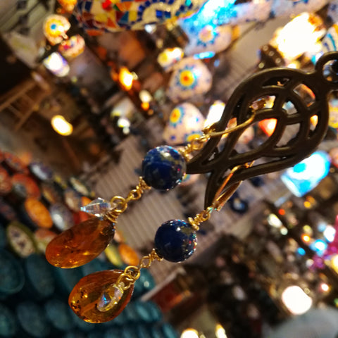 Lapis Lazuli and Amber Dangly Earrings