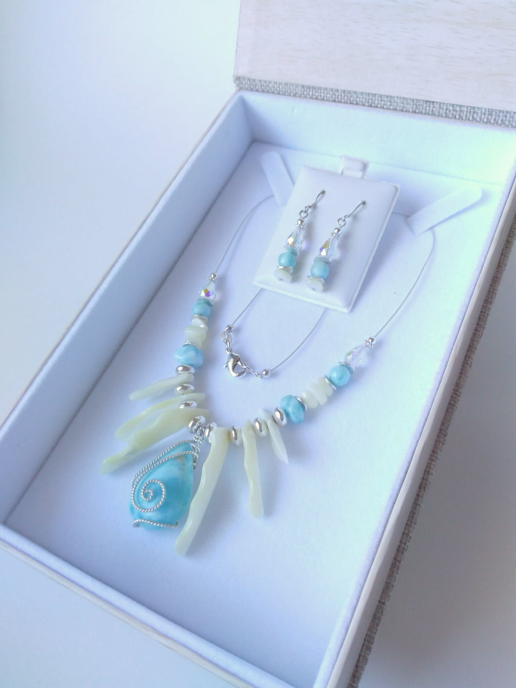 Mother of Pearl and Larimar Exotic Style Necklace and Earrings set