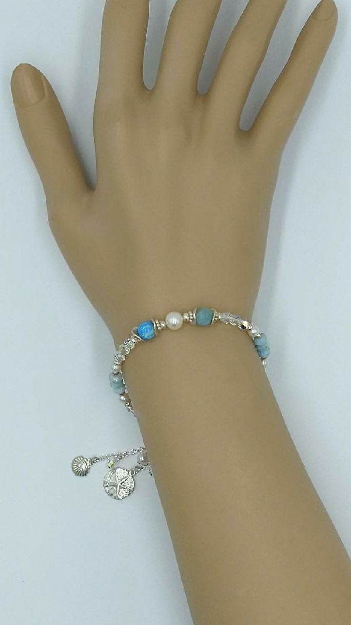 Playera Handmade Larimar, Freshwater Pearls and Opal Bracelet with dangling charms