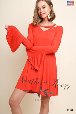 Trumpet Sleeve Dress w/ Cutout Neck