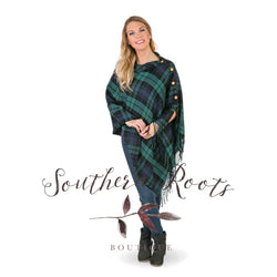 3 N 1 Plaid Poncho Green