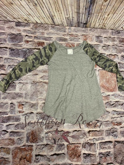 Camo Henley Top