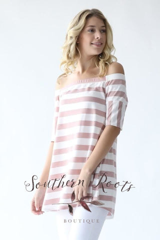 Keep Your Love Striped Off Shoulder Top