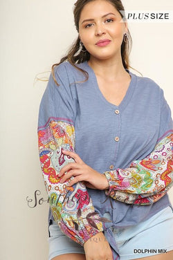 Paisley Puff Sleeve Knit Button Up Top
