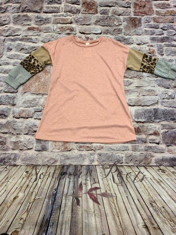 Pink/cheetah Color Block Top