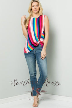 Shes Found Happiness Striped Tank Rainbow Top