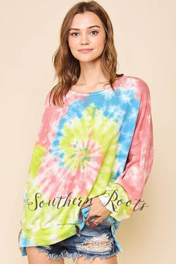 Think A Happy Thought Tie Dye Sweatshirt Top