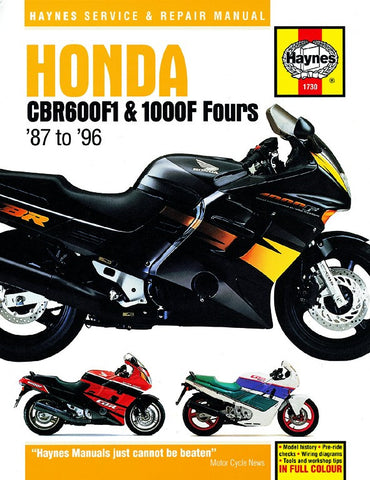 Haynes Repair Manual Honda CBR600F1 & 1000F Fours (87 - 96)