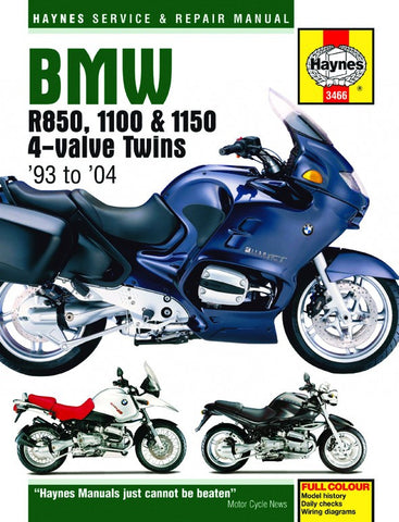 Haynes Repair Manual BMW R850, R1100 & R1150 4 Valve Twins (93-06)