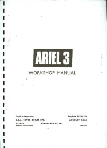 BSA Ariel 3 ( Three ) Moped Workshop Manual DOWNLOAD COPY