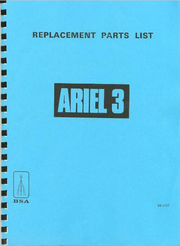 BSA Ariel 3 (Three)  Replacement/Spare Parts List DOWNLOAD COPY