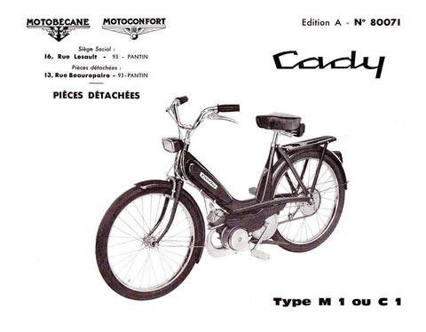 Mobylette Motobecane Moped Cady C1-M1 Spare Parts Manual in French on CD