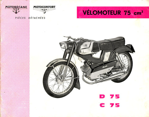 Mobylette Motobecane Moped D - C75 Spare Parts Manual in French on CD