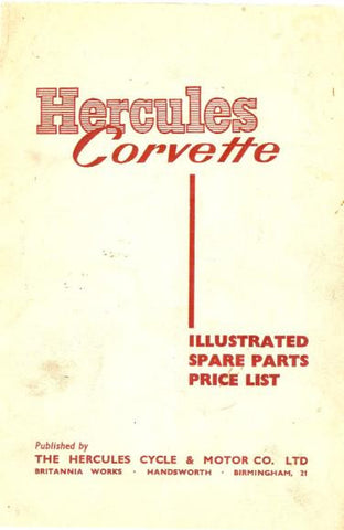 Hercules Corvette Illustrated Spare Parts Price List DOWNLOAD COPY