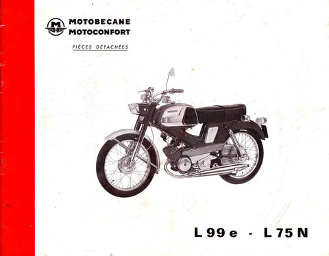 Mobylette Motobecane Moped L99é - L75N Spare Parts Manual in French on CD