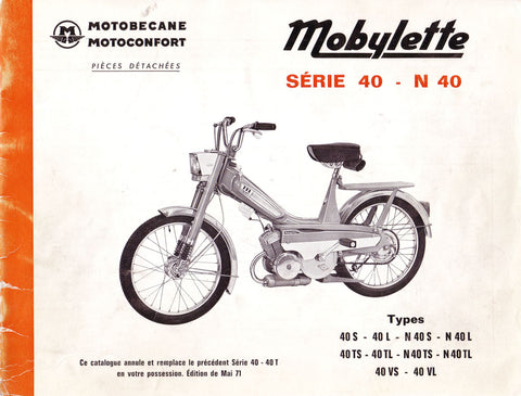 Mobylette Series N40,40TS,40TL,40VS,40VL  (In French) Spare Parts Book + Diagrams DOWNLOAD COPY