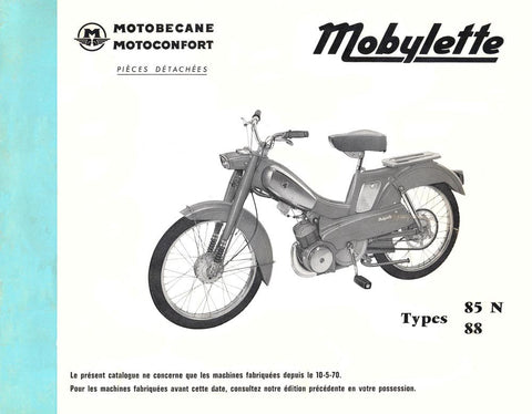 Mobylette Motobecane Moped 85N-88 Spare Parts Manual in French on CD