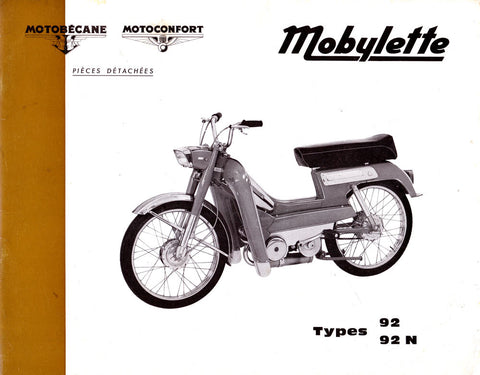 Mobylette Motobecane Moped 92-92N Spare Parts Manual in French DOWNLOAD