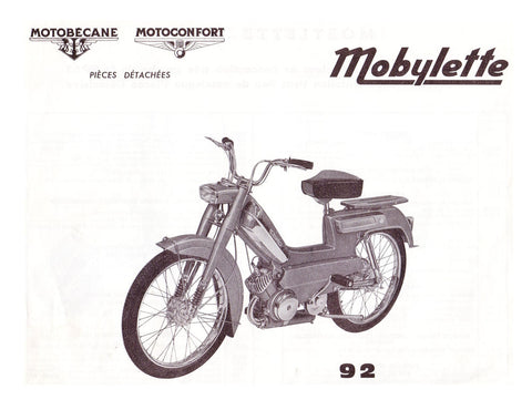 Mobylette Motobecane Moped 92 1st Version Spare Parts Manual in French on CD