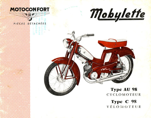 Mobylette Motobecane Moped AU98-C98 Spare Parts Manual in French on CD