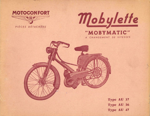 Mobylette Motobecane Moped AU37-36-47 Spare Parts Manual in French on CD